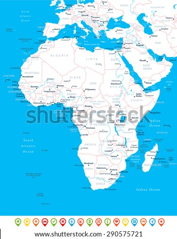 Africa - map, navigation icons - illustration - stock vector