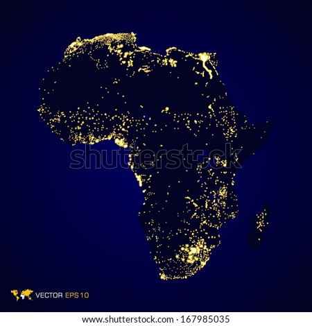 Africa map night light in vector format - stock vector