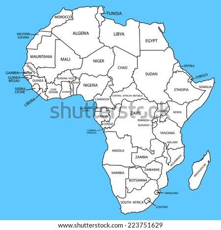 africa map on a blue background - stock vector