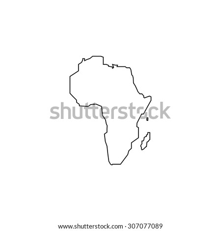 Africa Map. Outline black simple vector pictogram - stock vector