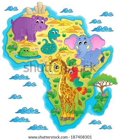 Africa map theme image 1 - eps10 vector illustration.