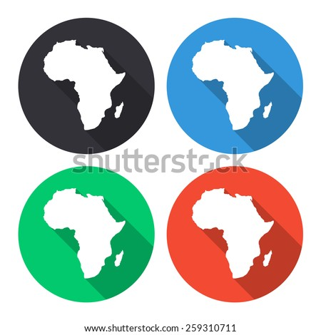 Africa map vector icon - colored(gray, blue, green, red) round buttons with long shadow - stock vector