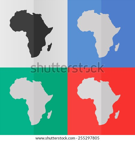 Africa map vector icon. Effect of folded paper. Colored (red, blue, green) illustrations. Flat design - stock vector
