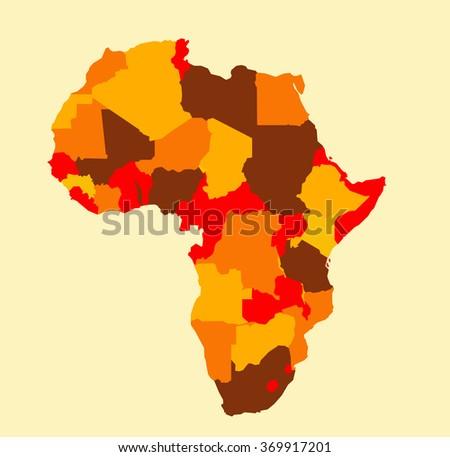 Africa map vector illustration art on white background - stock vector