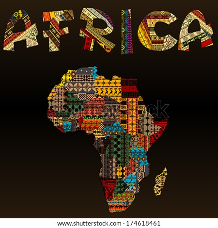 Africa map african typography made patchwork vector de africa map with african typography made of patchwork fabric texture gumiabroncs Image collections