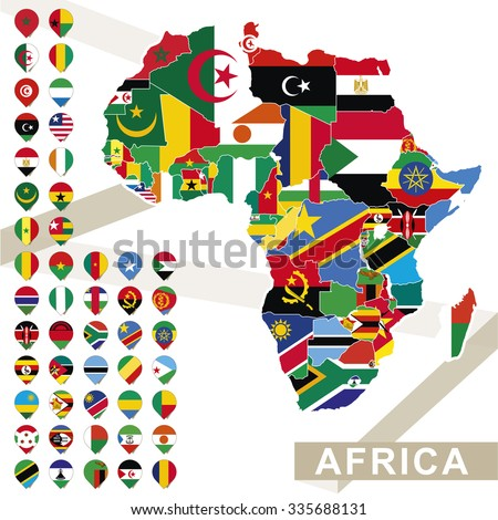 Africa Map Flags Africa Map Colored Stock Vector - Map africa
