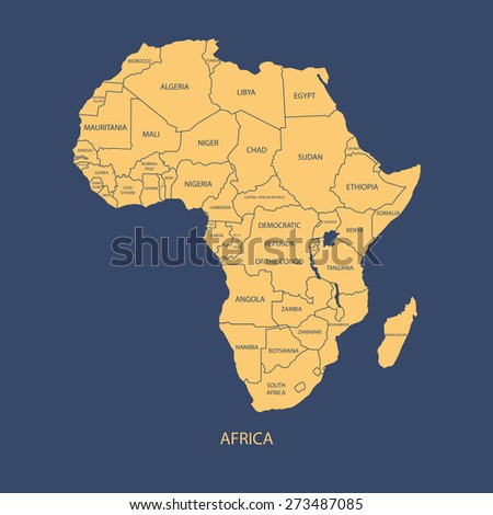 AFRICA MAP WITH NAME OF THE COUNTRIES illustration vector - stock vector
