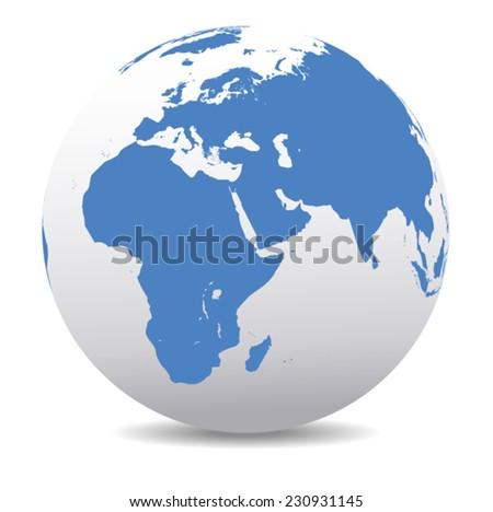 Africa, Middle East, Arabia and India Global World - stock vector