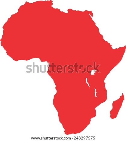 Africa red map, isolated on white background, vector - stock vector