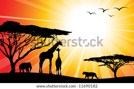 Africa / safari - silhouettes of wild animals in twilight - stock vector