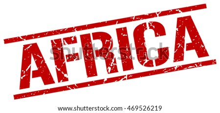 Africa stamp. red square Africa grunge stamp on white background. Africa