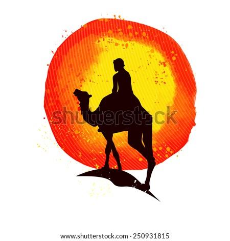 Africa sun and camel. Vector - stock vector