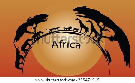 africa wild animals with trees - stock vector