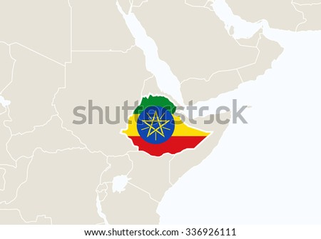 Africa with highlighted Ethiopia map. Vector Illustration.  - stock vector