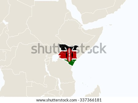 Africa with highlighted Kenya map. Vector Illustration.  - stock vector