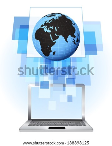Africa world globe in laptop internet searching frame idea vector illustration