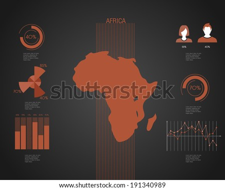 Africa World map with different colored continents - Illustration