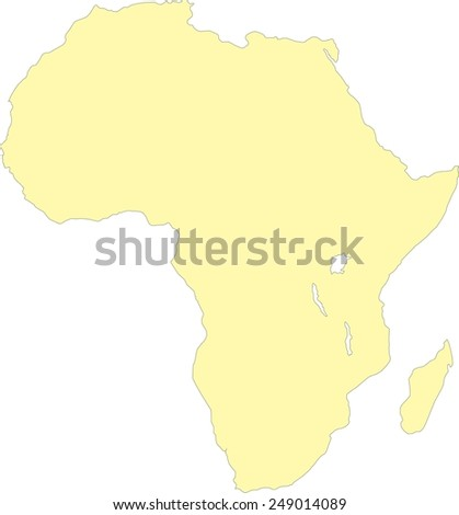Africa yellow map, isolated on white background, vector - stock vector