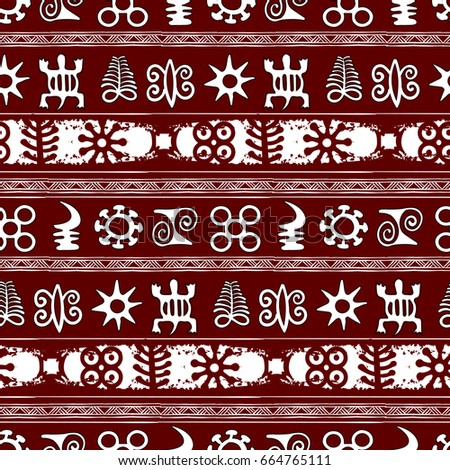 African Adinkra Pattern Black White Digital Stock Vector 664765111