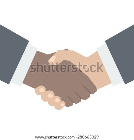 African American and European Shake Hands -  Interethnic Partnership Stylized Illustration Isolated on White