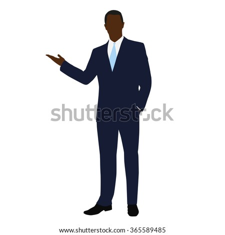 African American business man in office. Man in a dark blue suit during presentation - stock vector