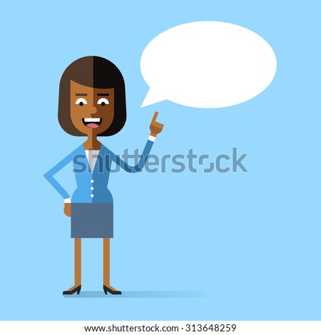 African american business woman in formal suit holding up her index finger and giving advice. Attractive successful woman speaking with speech bubble. Stock vector character in flat design. - stock vector