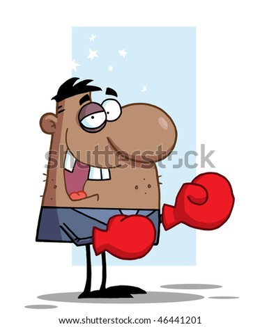 African American Businessman with Black Eye Wears Boxing Gloves,background - stock vector