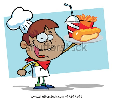 African American Chef Boy Carrying A Hot Dog, French Fries And Drink