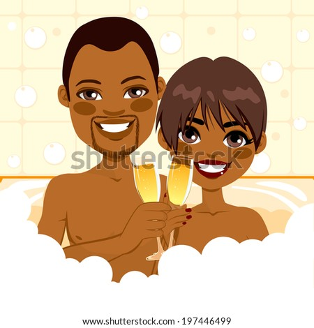 African American couple making toast with champagne in bathtub enjoying bubble bath relax together - stock vector