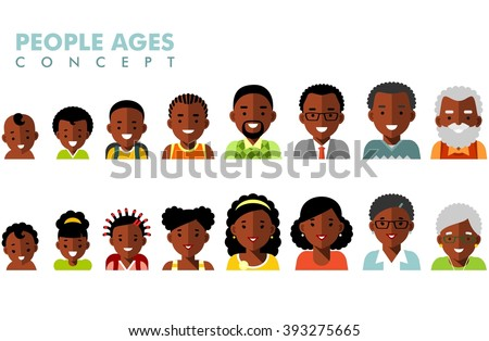 African american ethnic people generations at different ages. Man and woman african american ethnic aging - baby, child, teenager, young, adult, old - stock vector