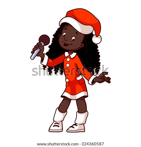 Stock Vector African American Girl Christmas Dress Singing With Microphone Clip Art Illustration On Graffiti