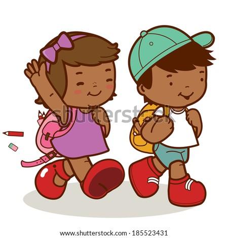 African American kids walk to school.    - stock vector