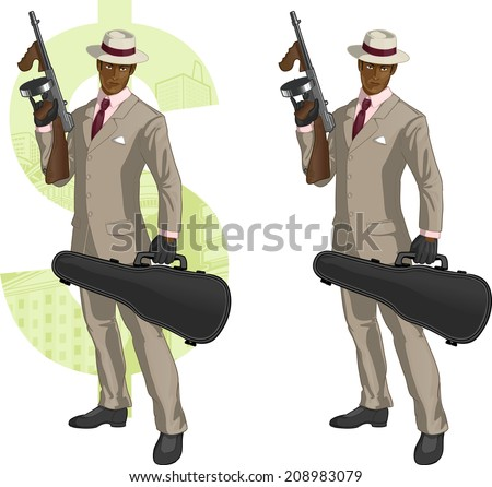 African American mafioso retro styled with colored lineart - stock vector