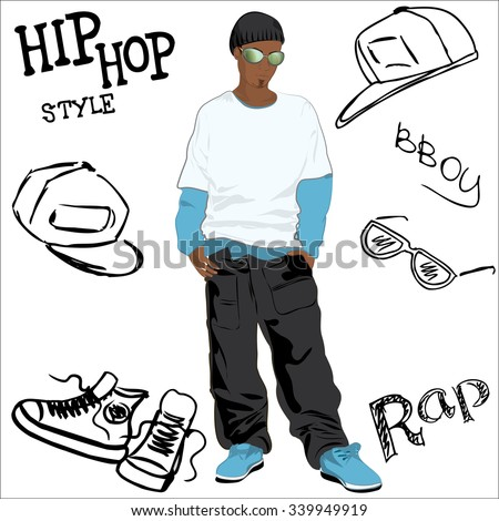 African-American man dressed as rapper trendy and hip hop accessories hand-drawn, vector illustration - stock vector