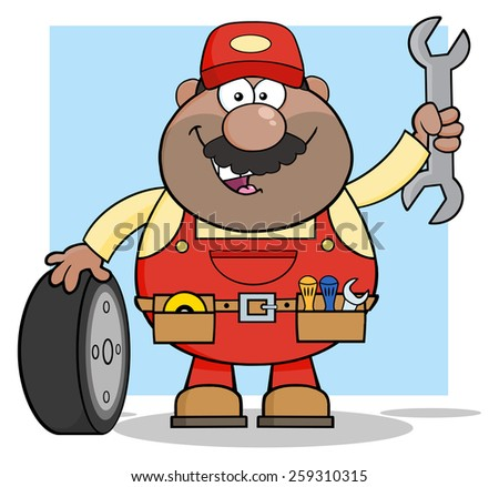 African American Mechanic Cartoon Character With Tire And Huge Wrench. Vector Illustration With Backgroun - stock vector