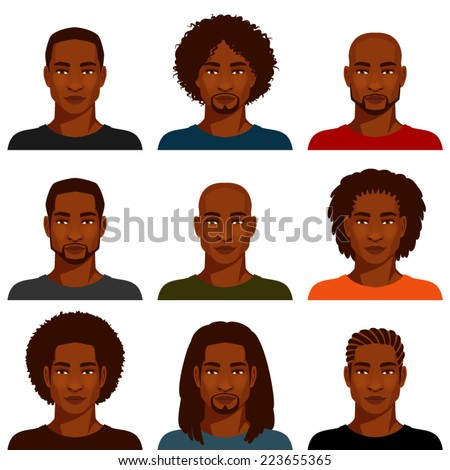 African American men with various hairstyles - stock vector