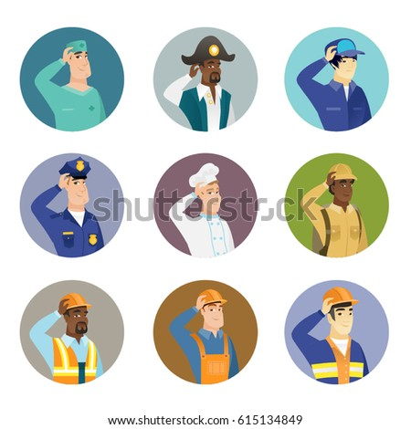 African-american pirate scratching head. Thoughtful pirate scratching his head. Puzzled pirate scratching his head. Set of vector flat design illustrations in the circle isolated on white background.
