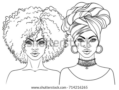 African American Pretty Girl Vector Illustration Stock Vector ...