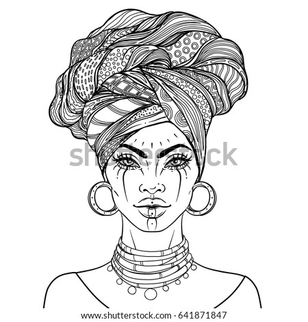 african american pretty girl vector illustration of black woman with glossy lips and turban - African American Coloring Books