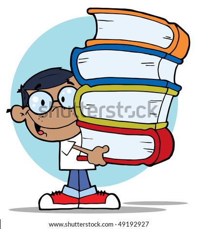African American School Boy Carrying A Stack Of Books - stock vector