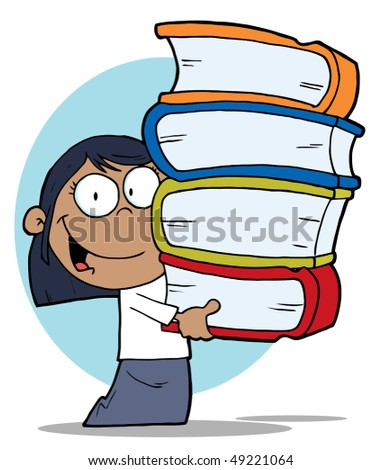 African American School Girl Carrying A Stack Of Books - stock vector