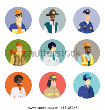African-american smiling builder in hard hat. Portrait of smiling confident builder. Set of different professions. Set of vector flat design illustrations in the circle isolated on white background.