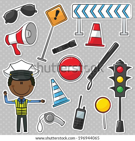 African-American Traffic Policeman With Tools - stock vector