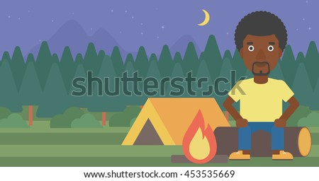 African-american travelling man sitting on a log near a fire on a background of camping site with tent. Man sitting near a campfire at a campsite. Vector flat design illustration. Horizontal layout. - stock vector