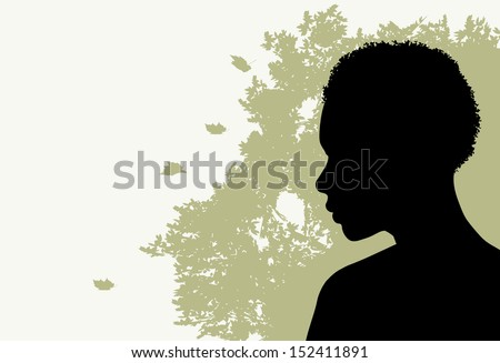 African American Woman and Tree Motif - stock vector