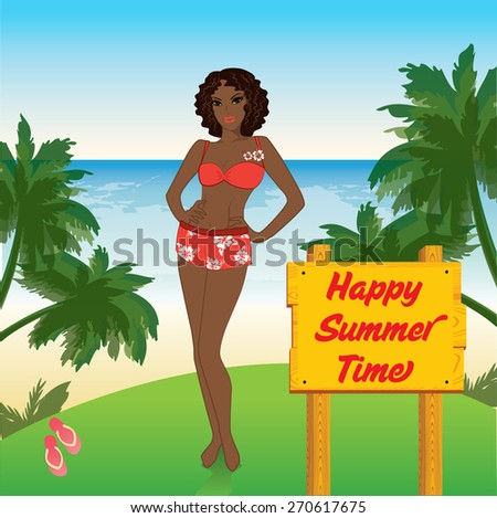 African-American woman standing on the shore of the beach, vector illustration