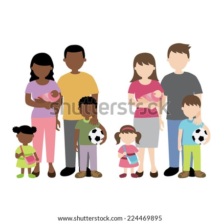 african and caucasian family illustration - stock vector