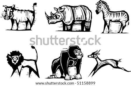 African Animal Group in a woodcut style - stock vector