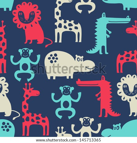 african animal seamless background - stock vector