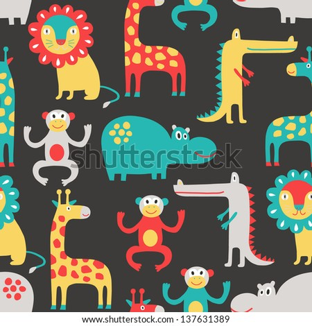 african animal seamless pattern - stock vector